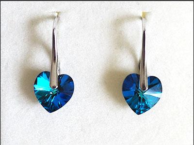 155 Náušnice srdce Bermuda Blue