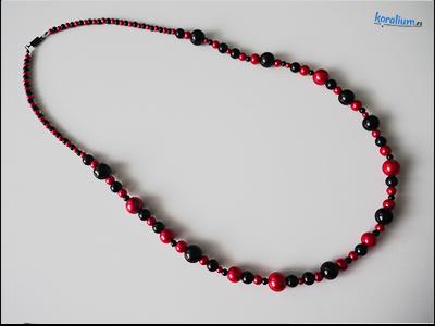 2018 Červeno-černé dlouhé korále